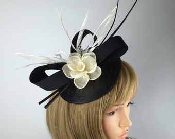 Black Fascinator, pretty elegant Wedding Fascinator on Hair Clip with ivory flower and quill