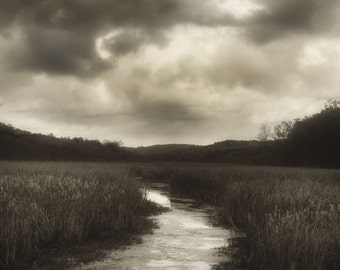 Sepia River Photography, Brown Wall Decor, Black River, Chester NJ - Modern Clouds Fine Art Wall Decor, Minimalist Photo