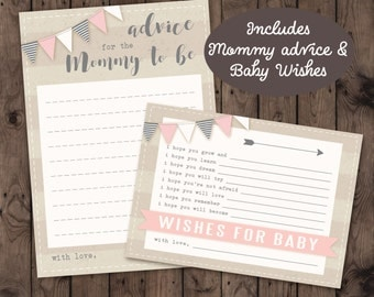 Banner baby Shower Mommy Advice & Wishes for Baby Cards
