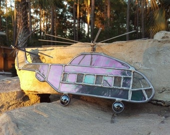 Stained Glass Jolly Green Giant Helicopter CH-53