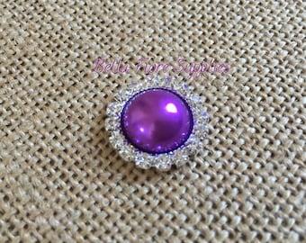 Purple Pearl Rhinestone Embellishment- 20mm- Rhinestone Pearl Flatback- Rhinestone for Headband, Craft Embellishment-Wholesale