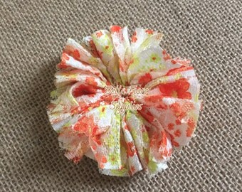 Orange Yellow Floral Print Lace Ballerina Flowers, Neon Lace Flowers- 3 inch, Wholesale, DIY, Lace Headband