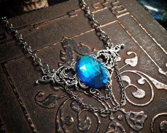 Vintage necklace // Victorian necklace // silver  filigree necklace // gothic necklace // pastel goth