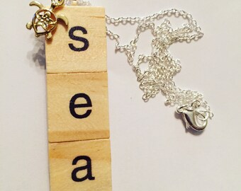 SEA scrabble pendant with charm necklace