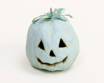 Mini Mint Chalk Painted Paper Mache Pumpkin with Liberty of London leaves
