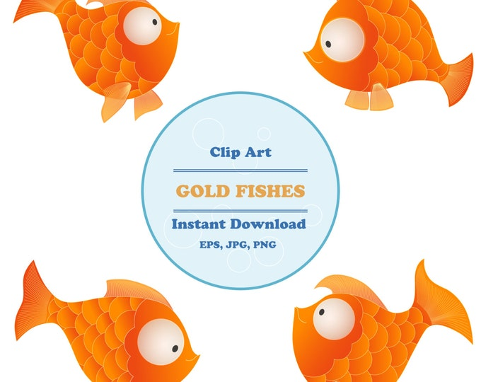 Gold Fish clipart, Sea Animal Clipart, Nautical clipart, Sticker, Scrapbooking, Instant Download, JPG, PNG, EPS