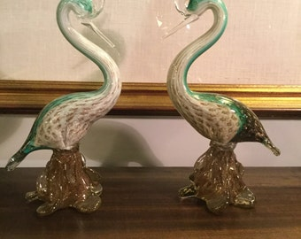 Pair of Gorgeous Murano Gold Infused Birds