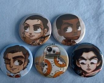 Star Wars Force Awakens button set -- Rey, Finn, Poe, BB-8, Kylo Ren