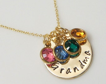Grandmother Necklace. Mother's Day Gift. Family Birthstone Necklace.