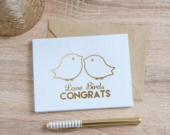 Congrats Love Birds Wedding Card, Gold Foil - Love Birds Card - Gold Wedding Card - Congrats Wedding Card - Wedding Card - Blank Card