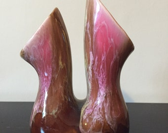 Vintage Majolica Double Headed Vase