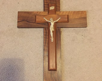 Vintage French Large Wooden Crucifix