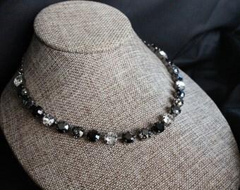 8.5mm Swarovski Crystal Necklace Shades of Black