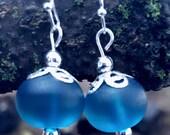 Peacock Blue Sea Glass beaded earrings with Filigree caps