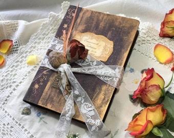 Autumn Gold Marsala Vintage Wedding Guestbook, Antique Photo book. Rustic book