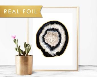Black Agate Geode Art Print Real Gold Foil