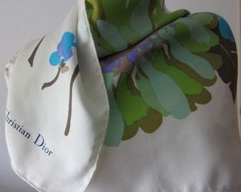 Vintage 1960's Christian Dior floral design silk twill scarf 78 x 76 cm