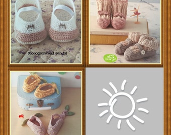 Crocheted Baby Shoes Booties: Hand crochet shoes and booties for babies