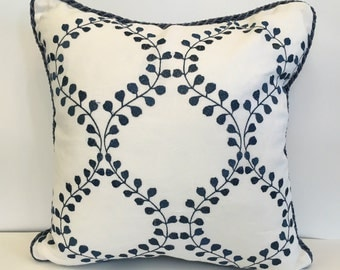 "Blue and White Embroidered Vine Decorator Pillow Cover, 16"" x 16"", Decorator Pillow, Throw Pillow, Toss Pillow, Accent Pillow"