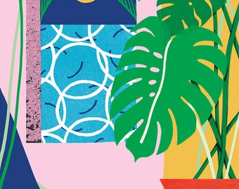Tropical Pool Breeze A3 Giclee Art Print