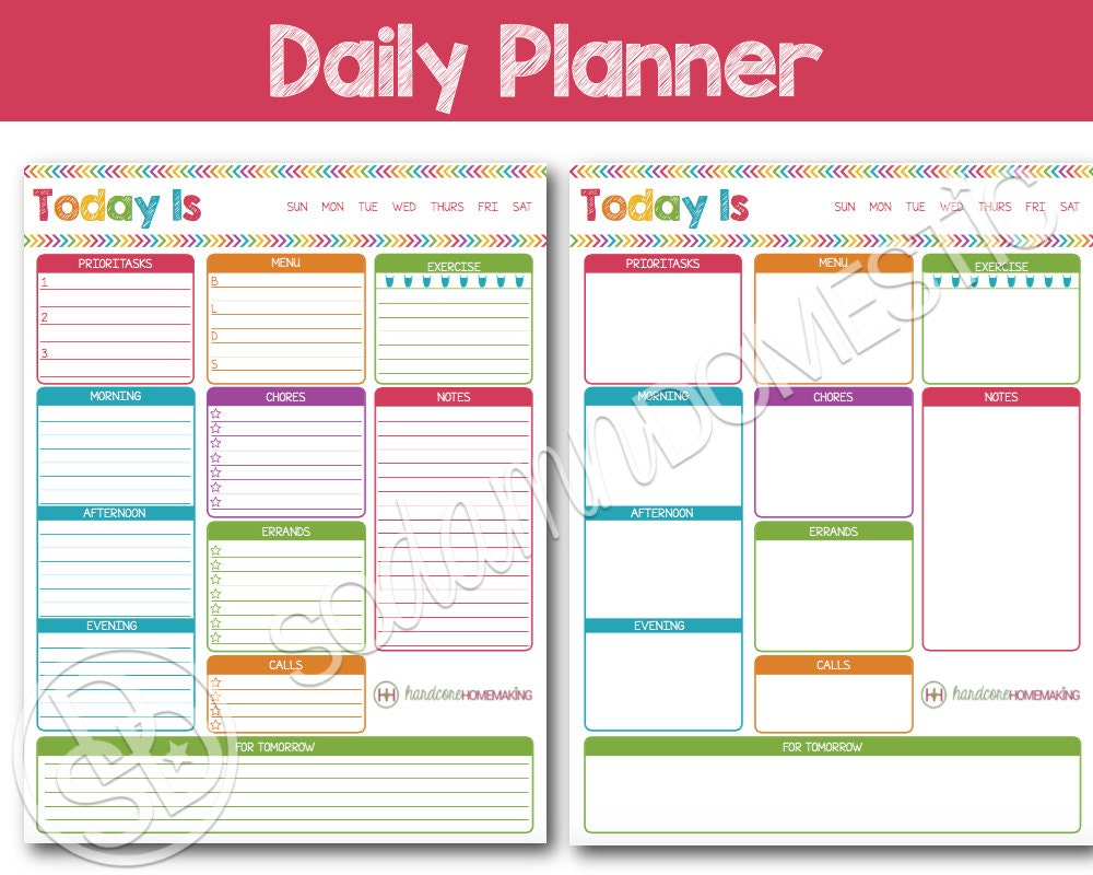 Daily Printable Planner To do list with menu plan meal