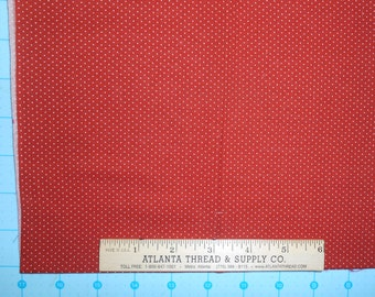 White Polka Dots on Red Cotton Fabric Fat Quarter 18 X 22