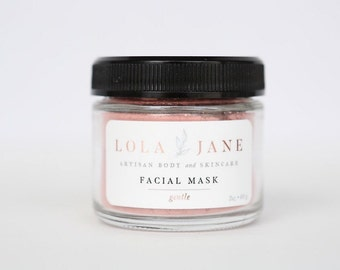 Gentle Clay Facial Mask/Clay Face Mask/All Natural Skincare/Rose Kaolin Clay/Cleanse/Exfoliate/Pure Essential Oils/2oz