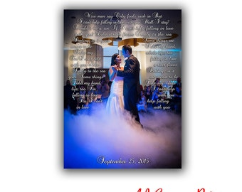 First Dance Lyrics, Canvas Print, Wedding Song, Vows to canvas, Wedding Anniversary Gift, Personalized Husband and Wife Gift, Christmas Gift