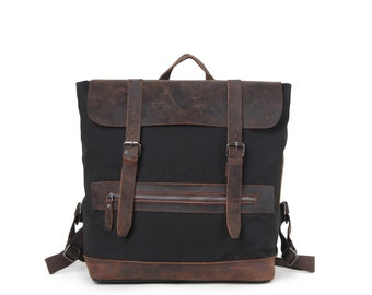 Campground Leather Canvas Backpack - Black, waxed leather, water resistant, vintage style