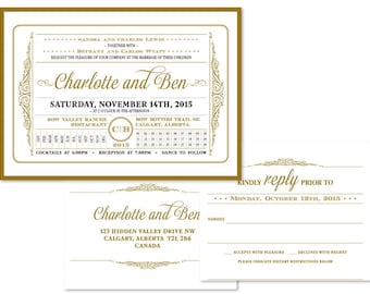 Art Deco Wedding Invitation Set (priced per 25)