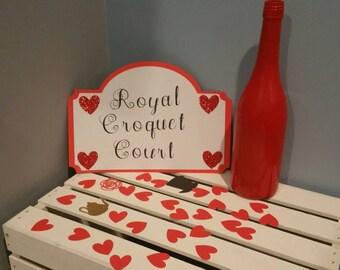 alice in wonderland decor,alice in wonderland sign, royal croquet court, red queen decor, alice in wonderland decorations, unbirthday