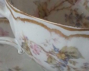 Antique Haviland Limoges Double Gold Teacup Set, Antique Limoges Schleiger Double Gold Floral Teacup, Limoges Double Gold Floral Teacup Set
