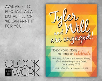 Engagement, Invitations, Party, Printed or Digital File Available, Modern Geometric
