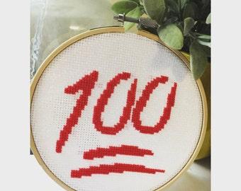 Keepin' It 100 Emoji Cross Stitch