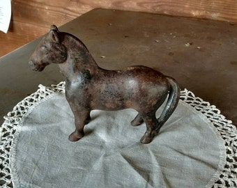 Antique-vintage-cast-iron-horse-bank-workhorse-bank-decor or gift