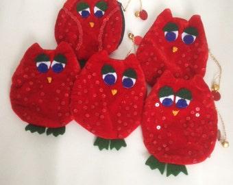 Red Velvet Owl Coin purse