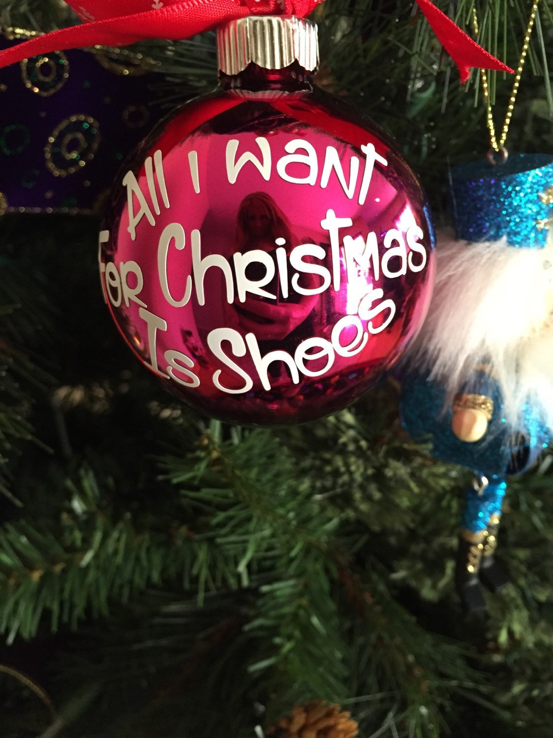 Glass ornaments, ornament, shoes, diva ornament, All i want for ...
