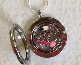 Mom Inspired Locket with Floating Charms and Silver Necklace