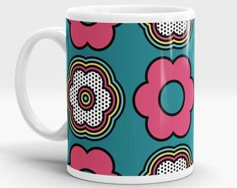 Pop Floral 2 mug - Pop Art - Retro - 60s