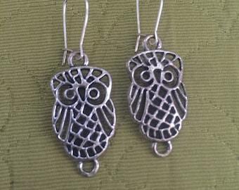 Silver Owl Earrings - Owl Earrings, Owl Dangle Earrings, Silver Earrings