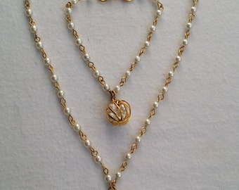 Vintage Signed CELEBRITY Gold Tone Faux Pearl Cage Beaded Bracelet and Necklace Jewelry Set
