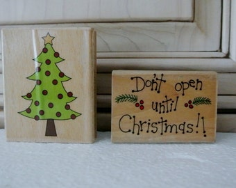 Set of two christmas stamps wood mounted