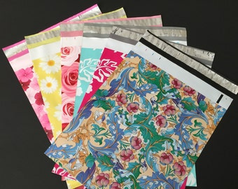 200 Assorted Designer Poly Mailers 10x13 Paisley Flowers Hibiscus Roses Daisies Envelopes Shipping Bags