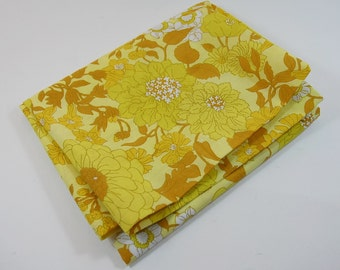 Vintage 1960-70's Pillow Case - Never Been Used . Flower Power. Yellow/Orange Flowers  Retro Pillow Case