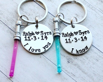 """I Love You I Know Hand Stamped 1"""" Aluminum Keychain Set with Lightsaber Charm, Star Wars Keychain, Couples Keychain, valentine's day"""