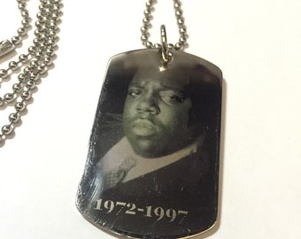 """Notorious BIG vintage dog tag Biggie Smalls Tribute 24"""" Necklace - Laser Etched from 1997"""