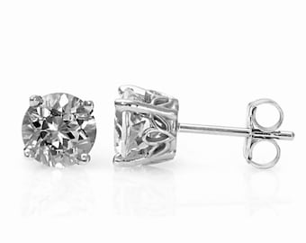 Sterling Silver 1 Ct Diamond Stud Earrings (EOC)