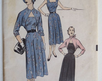 Vintage 50's Dress n Bolero Jacket Advance Pattern 6316 Size 14 Bust 32.