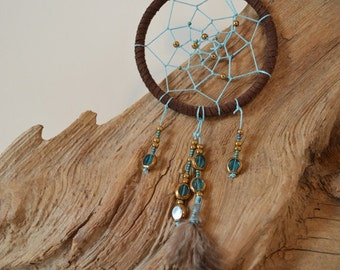 Turquoise and Gold Dream Catcher