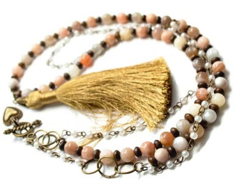 Long Moonstoone Necklace- Rainbow Moonstone- Moonstone Necklace- Free Shipping